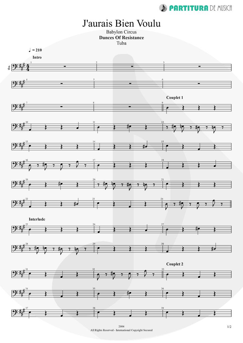 Partitura de musica de Tuba - J'aurais Bien Voulu | Babylon Circus | Dances Of Resistance 2004 - pag 1