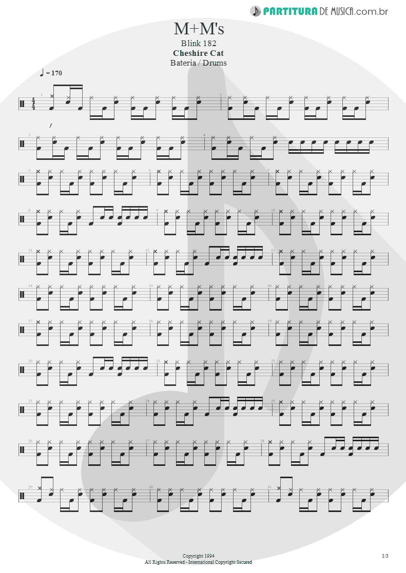 Partitura de musica de Bateria - M+M's | Blink-182 | Cheshire Cat 1994 - pag 1