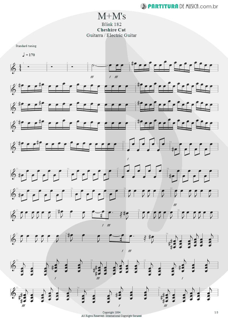 Partitura de musica de Guitarra Elétrica - M+M's | Blink-182 | Cheshire Cat 1994 - pag 1