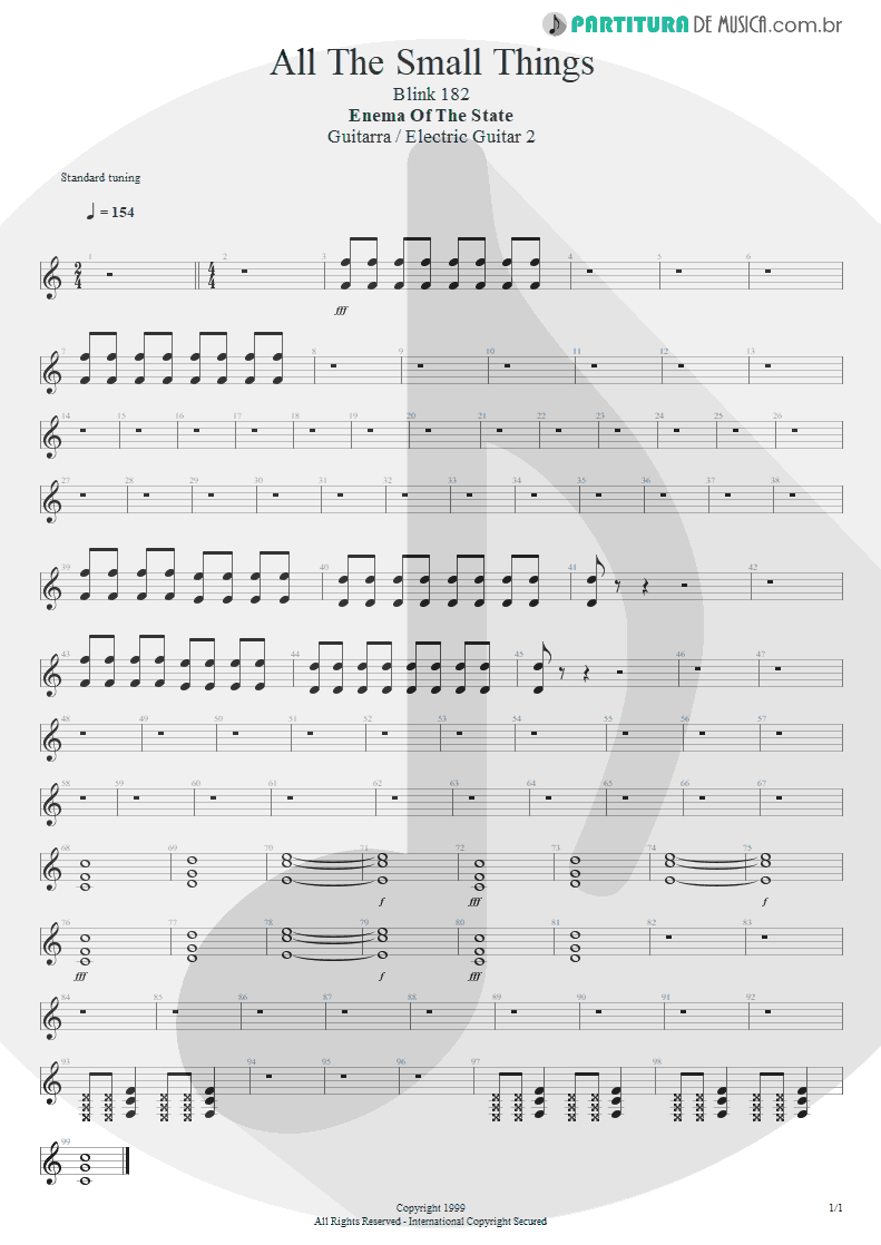 Partitura de musica de Guitarra Elétrica - All The Small Things | Blink-182 | Enema of the State 1999 - pag 1