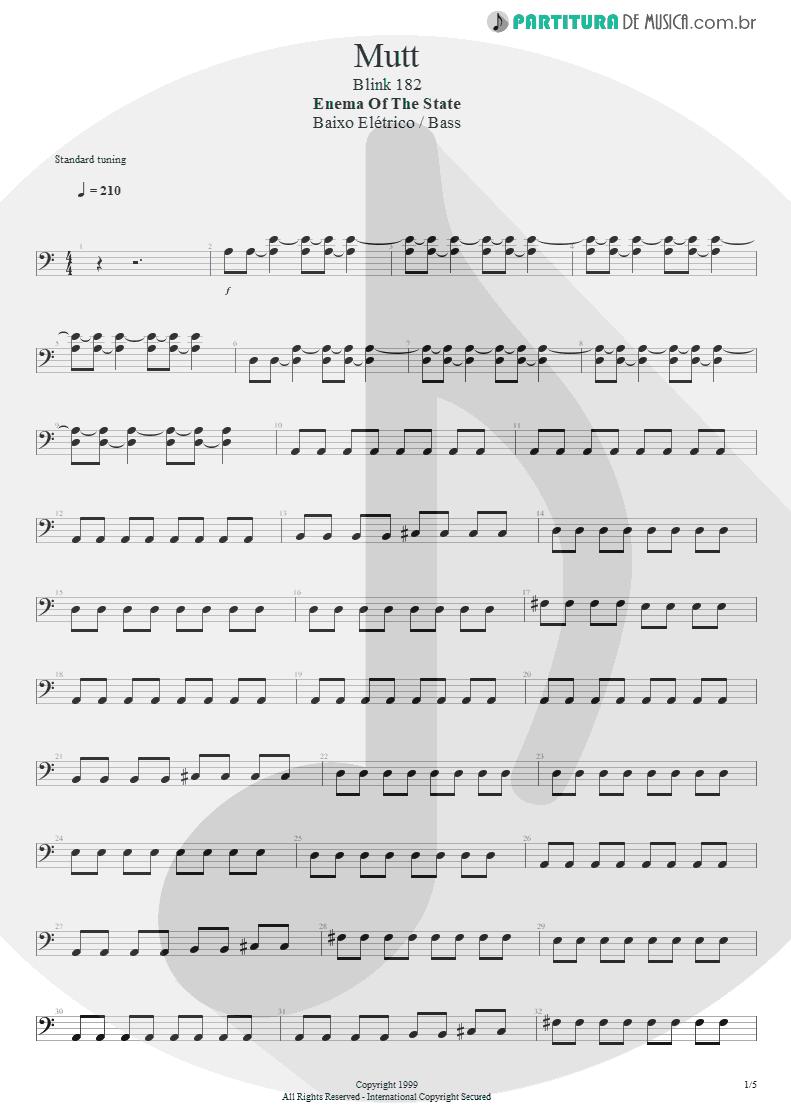 Partitura de musica de Baixo Elétrico - Mutt   Blink-182   Enema of the State 1999 - pag 1