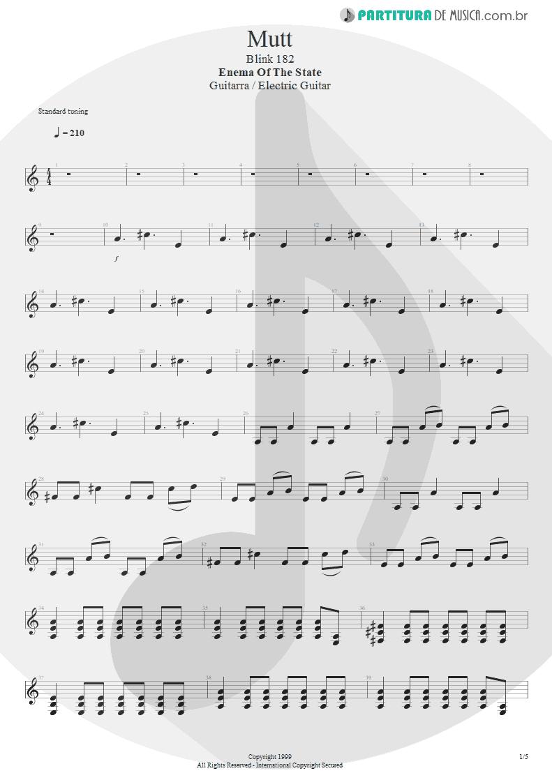 Partitura de musica de Guitarra Elétrica - Mutt | Blink-182 | Enema of the State 1999 - pag 1