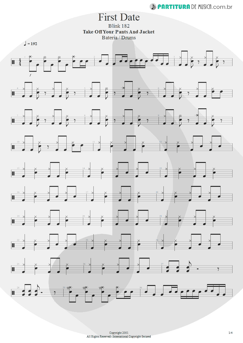 Partitura de musica de Bateria - First Date   Blink-182   Take Off Your Pants and Jacket 2001 - pag 1