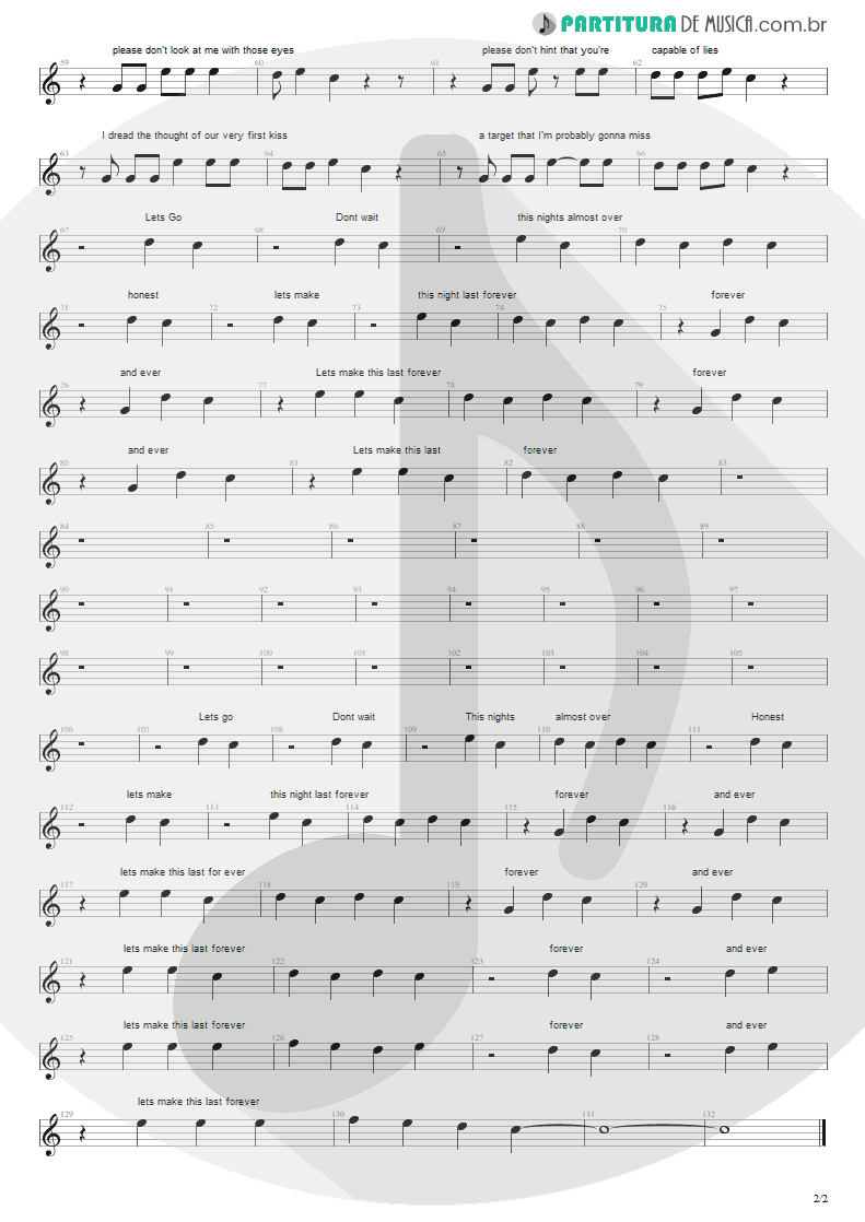 Partitura de musica de Canto - First Date   Blink-182   Take Off Your Pants and Jacket 2001 - pag 2
