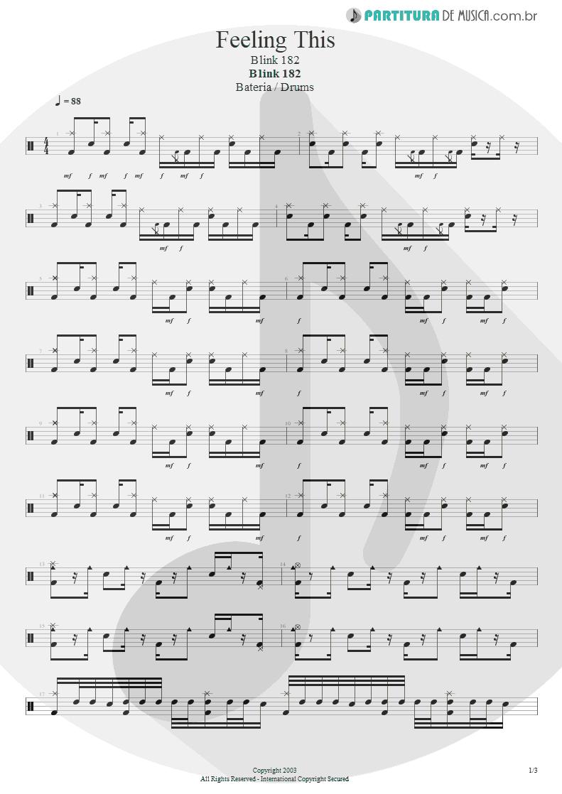 Partitura de musica de Bateria - Feeling This   Blink-182   Blink-182 2003 - pag 1