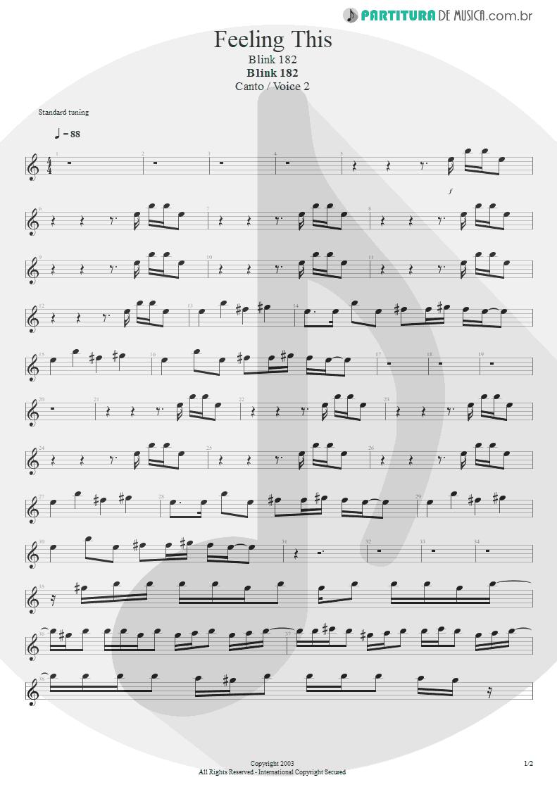 Partitura de musica de Canto - Feeling This   Blink-182   Blink-182 2003 - pag 1