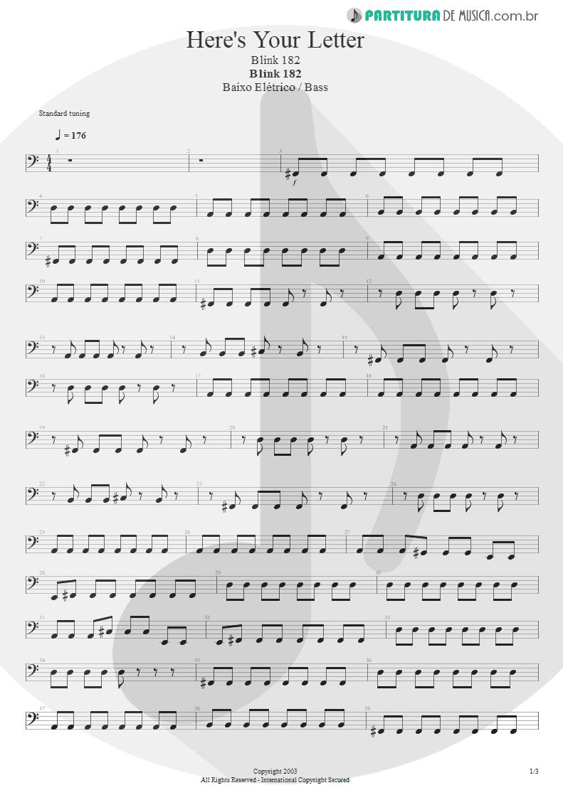Partitura de musica de Baixo Elétrico - Here's Your Letter | Blink-182 | Blink-182 2003 - pag 1