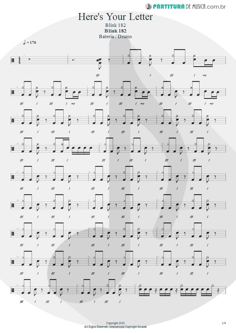 Partitura de musica de Bateria - Here's Your Letter | Blink-182 | Blink-182 2003 - pag 1