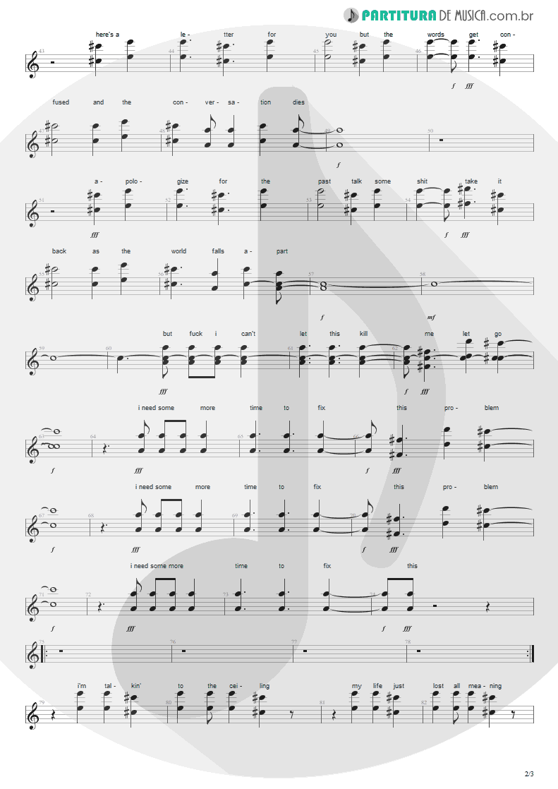 Partitura de musica de Canto - Here's Your Letter | Blink-182 | Blink-182 2003 - pag 2
