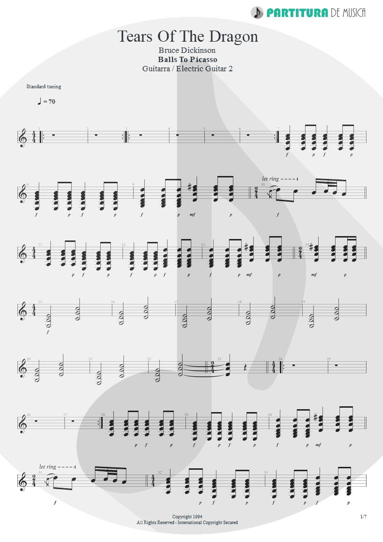 Partitura de musica de Guitarra Elétrica - Tears Of The Dragon | Bruce Dickinson | Balls to Picasso 1994 - pag 1