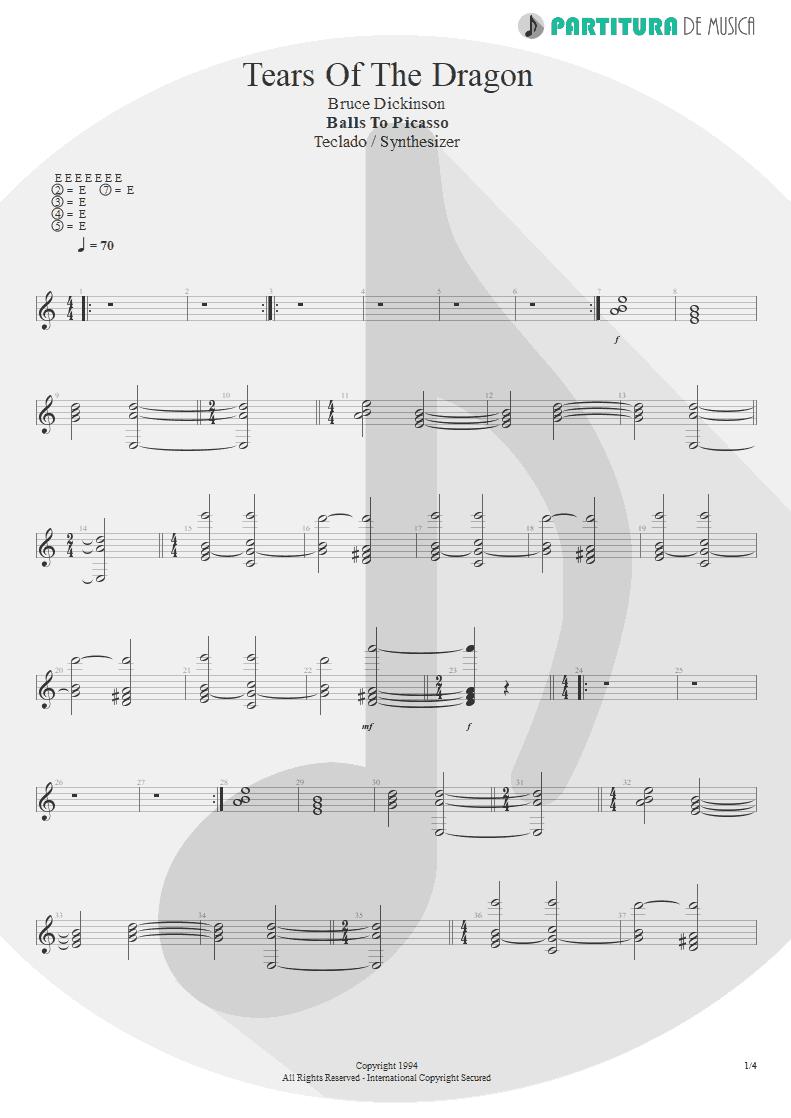 Partitura de musica de Teclado - Tears Of The Dragon   Bruce Dickinson   Balls to Picasso 1994 - pag 1