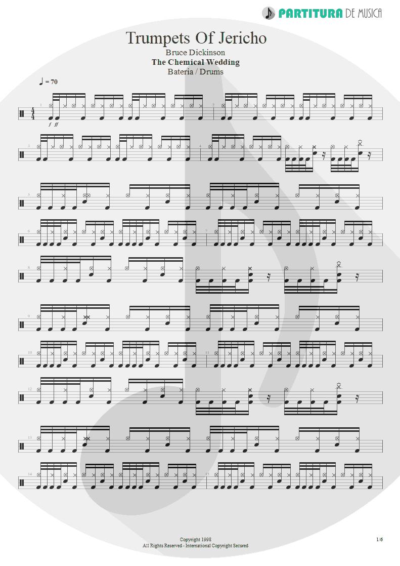 Partitura de musica de Bateria - Trumpets Of Jericho   Bruce Dickinson   The Chemical Wedding 1998 - pag 1