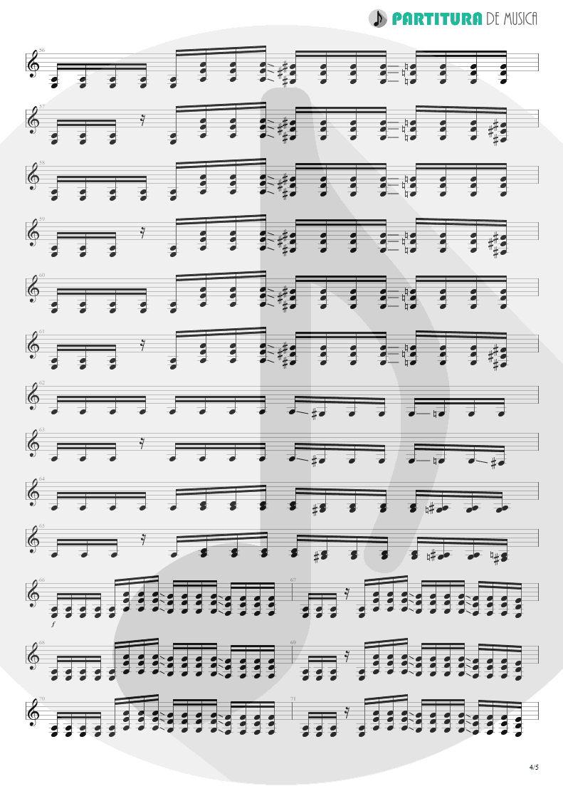 Partitura de musica de Guitarra Elétrica - Trumpets Of Jericho | Bruce Dickinson | The Chemical Wedding 1998 - pag 4