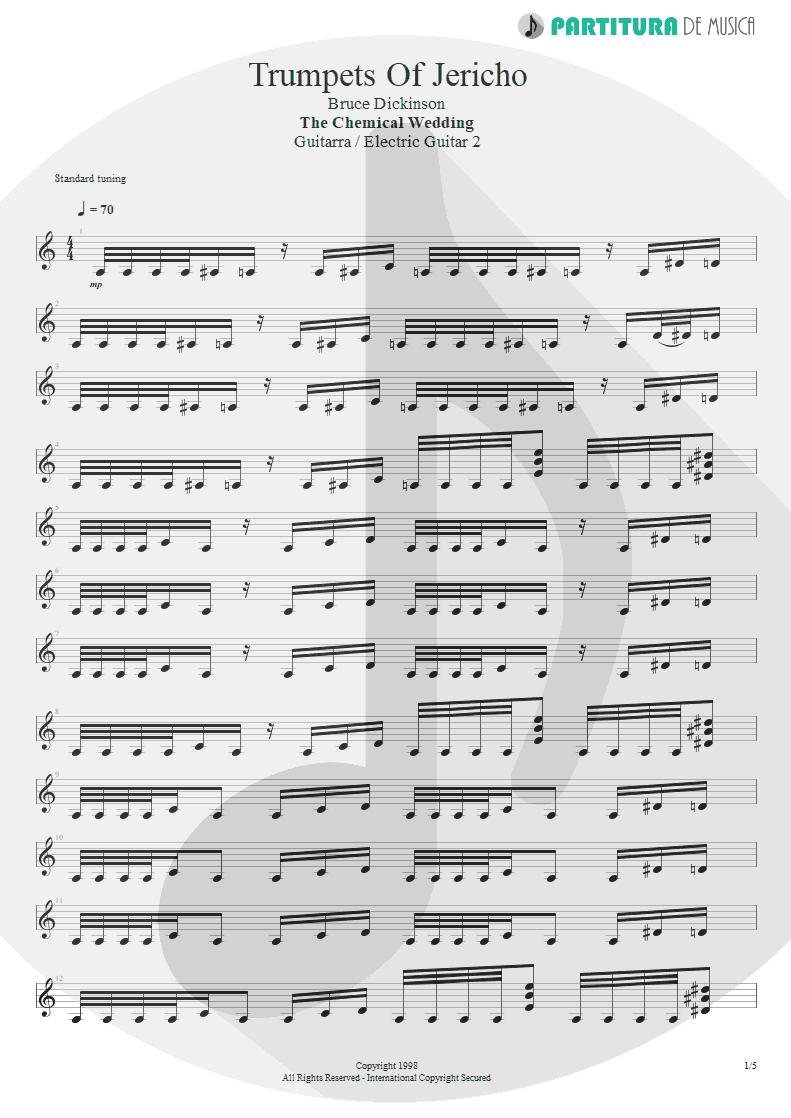 Partitura de musica de Guitarra Elétrica - Trumpets Of Jericho | Bruce Dickinson | The Chemical Wedding 1998 - pag 1