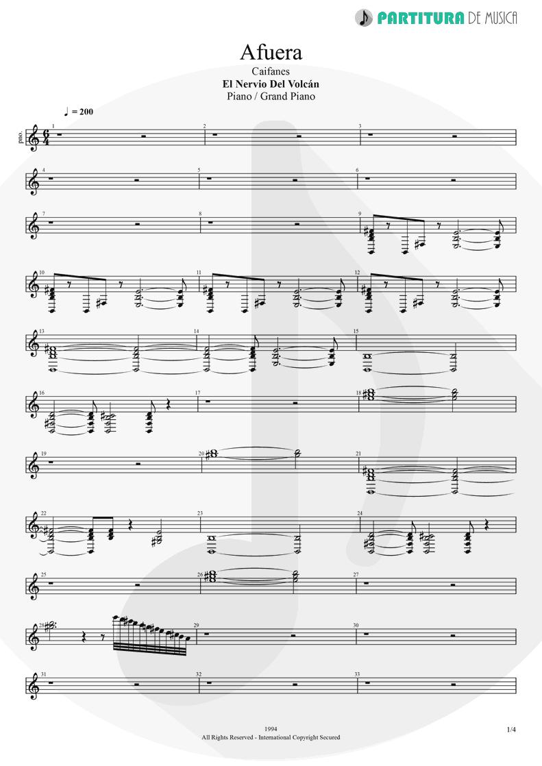 Partitura de musica de Piano - Afuera | Caifanes | El nervio del volcán 1994 - pag 1