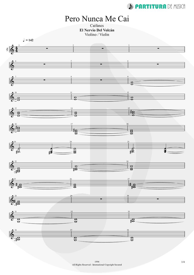 Partitura de musica de Violino - Pero Nunca Me Cai | Caifanes | El nervio del volcán 1994 - pag 1