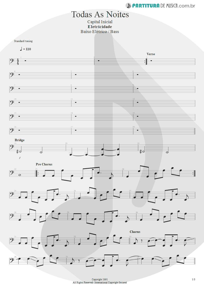 Partitura de musica de Baixo Elétrico - Todas As Noites | Capital Inicial | Eletricidade 1991 - pag 1