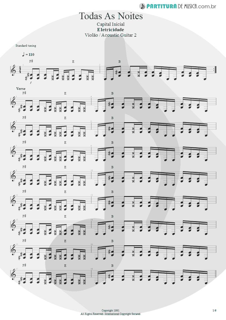 Partitura de musica de Violão - Todas As Noites | Capital Inicial | Eletricidade 1991 - pag 1