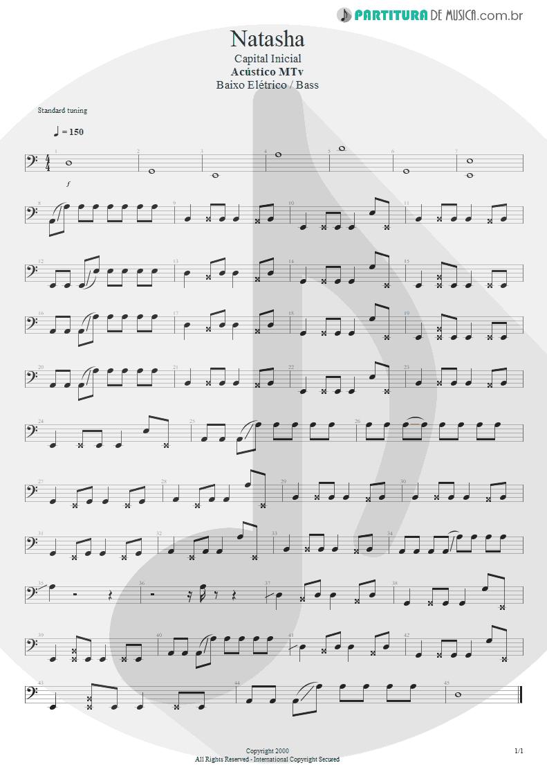 Partitura de musica de Baixo Elétrico - Natasha | Capital Inicial | Acústico MTV 2000 - pag 1