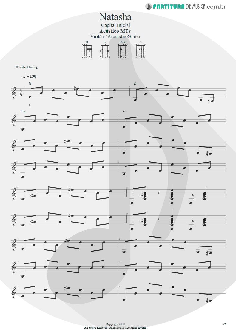 Partitura de musica de Violão - Natasha | Capital Inicial | Acústico MTV 2000 - pag 1