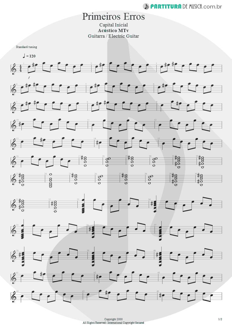 Partitura de musica de Guitarra Elétrica - Primeiros Erros (Chove) | Capital Inicial | Acústico MTV 2000 - pag 1