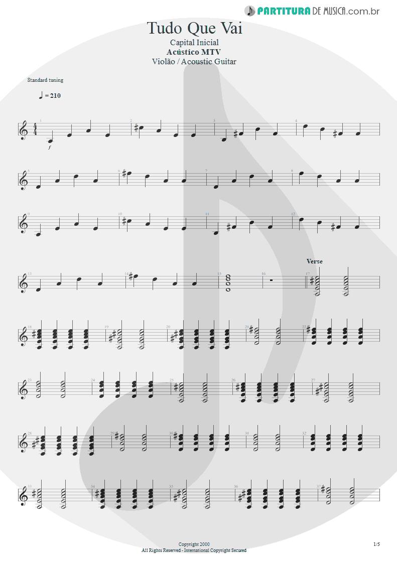 Partitura de musica de Violão - Tudo Que Vai | Capital Inicial | Acústico MTV 2000 - pag 1