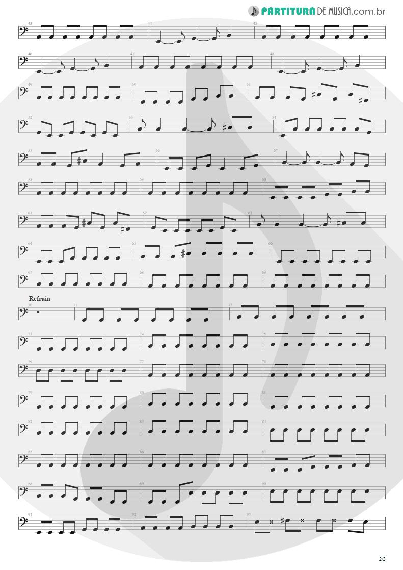 Partitura de musica de Baixo Elétrico - Quatro Vezes Você | Capital Inicial | Rosas e Vinho Tinto 2002 - pag 2