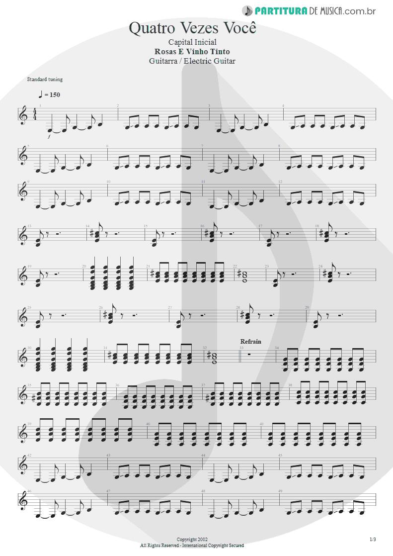 Partitura de musica de Guitarra Elétrica - Quatro Vezes Você | Capital Inicial | Rosas e Vinho Tinto 2002 - pag 1
