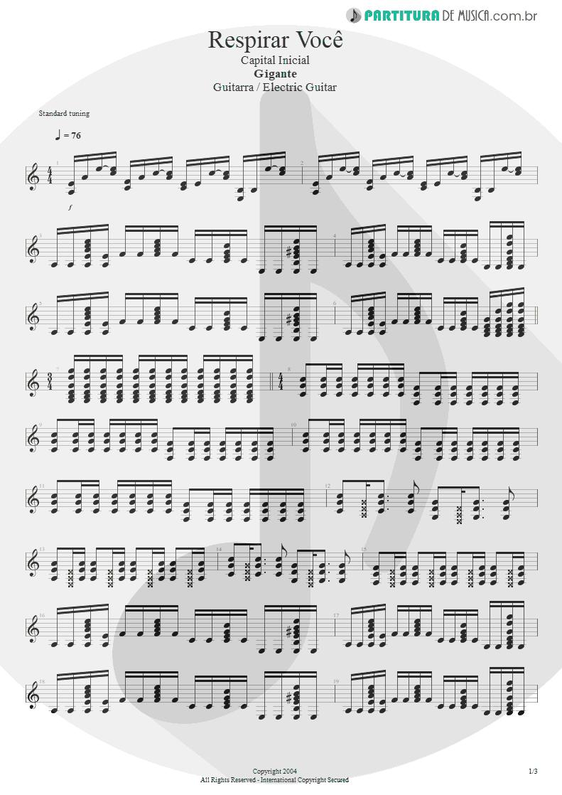 Partitura de musica de Guitarra Elétrica - Respirar Você | Capital Inicial | Gigante! 2004 - pag 1