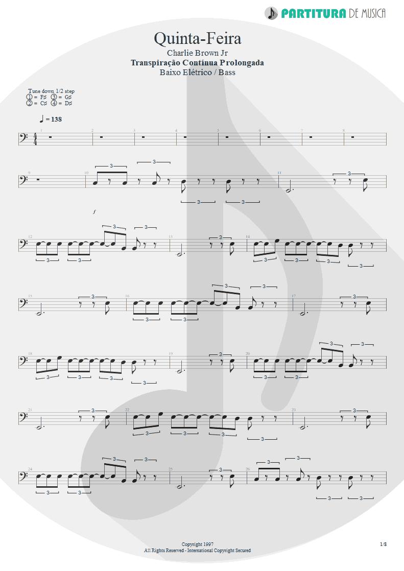 Partitura de musica de Baixo Elétrico - Quinta-Feira | Charlie Brown Jr. | Transpiração Contínua Prolongada 1997 - pag 1