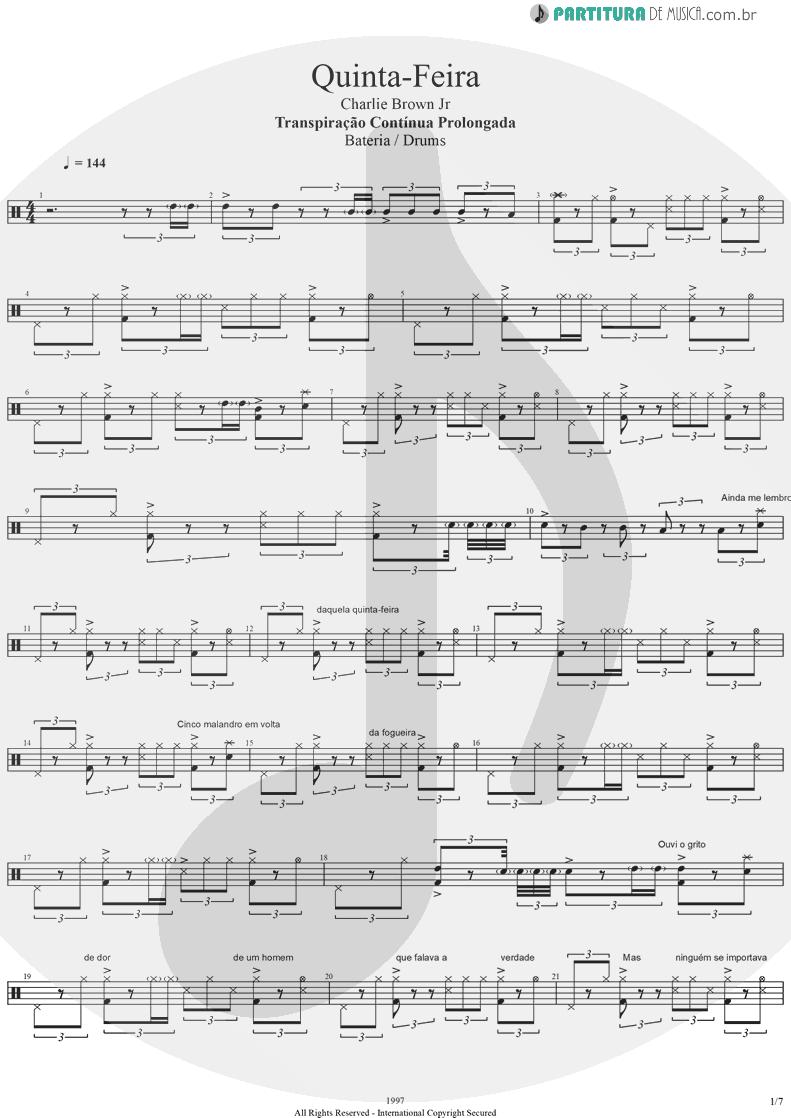 Partitura de musica de Bateria - Quinta-Feira | Charlie Brown Jr. | Transpiração Contínua Prolongada 1997 - pag 1