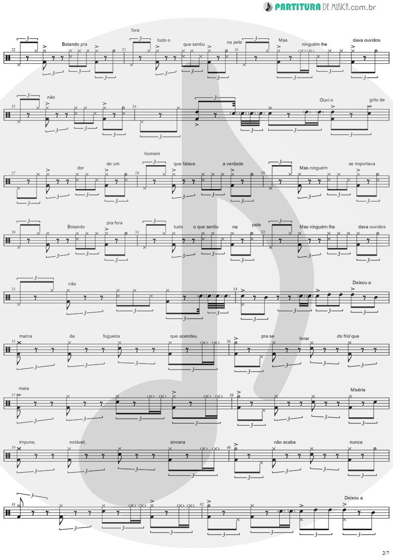 Partitura de musica de Bateria - Quinta-Feira | Charlie Brown Jr. | Transpiração Contínua Prolongada 1997 - pag 2