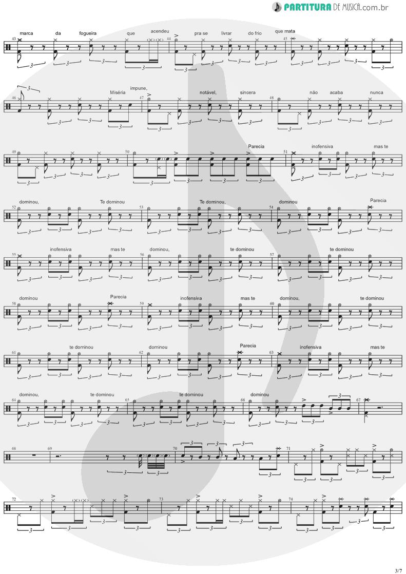 Partitura de musica de Bateria - Quinta-Feira | Charlie Brown Jr. | Transpiração Contínua Prolongada 1997 - pag 3