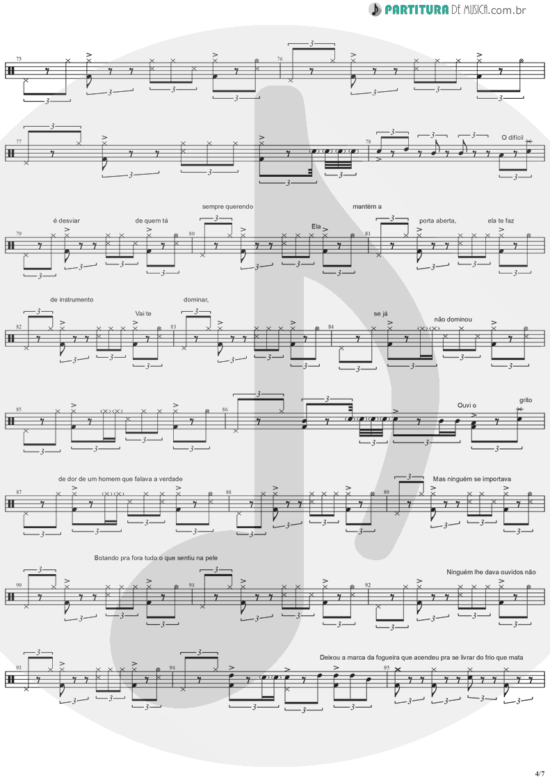Partitura de musica de Bateria - Quinta-Feira | Charlie Brown Jr. | Transpiração Contínua Prolongada 1997 - pag 4