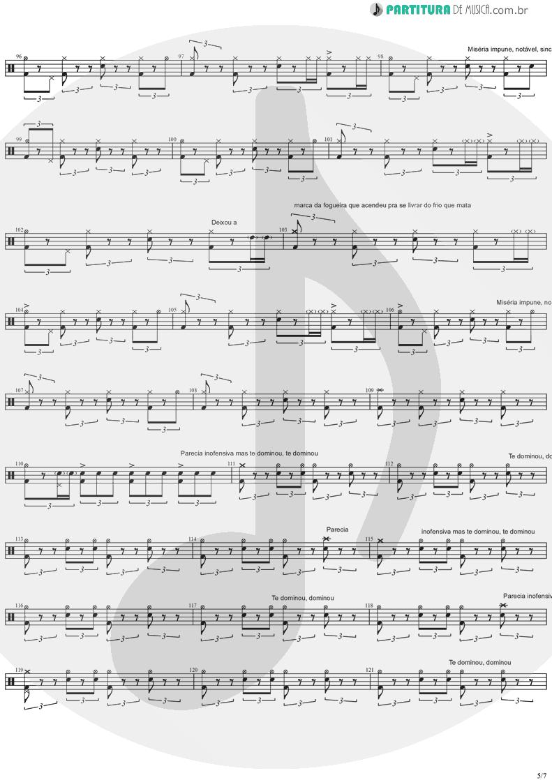 Partitura de musica de Bateria - Quinta-Feira | Charlie Brown Jr. | Transpiração Contínua Prolongada 1997 - pag 5