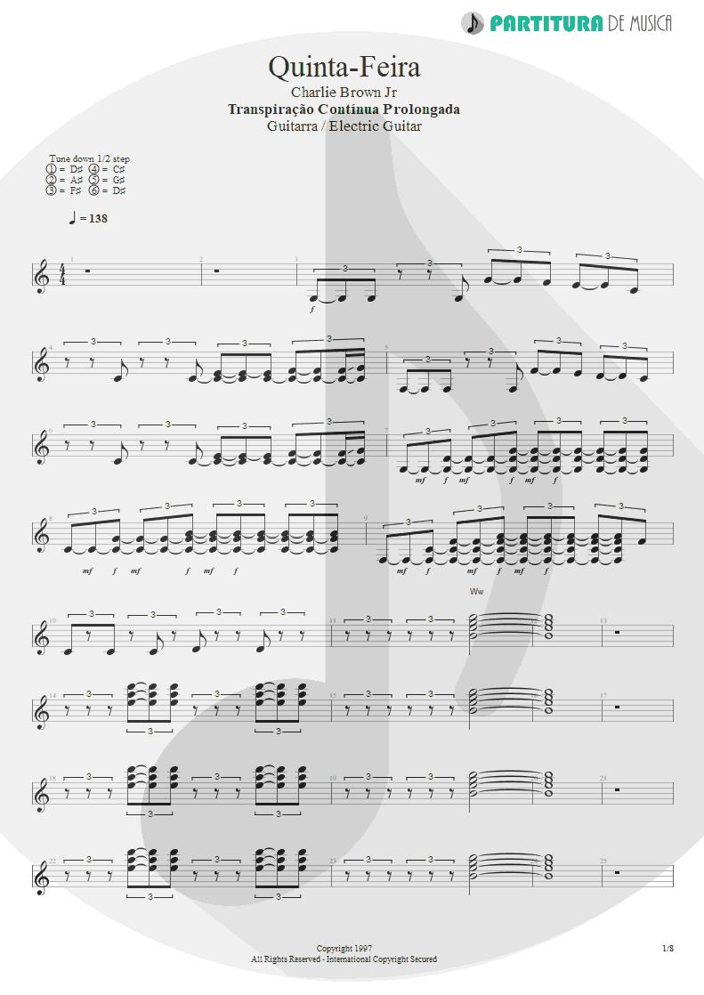 Partitura de musica de Guitarra Elétrica - Quinta-Feira   Charlie Brown Jr.   Transpiração Contínua Prolongada 1997 - pag 1