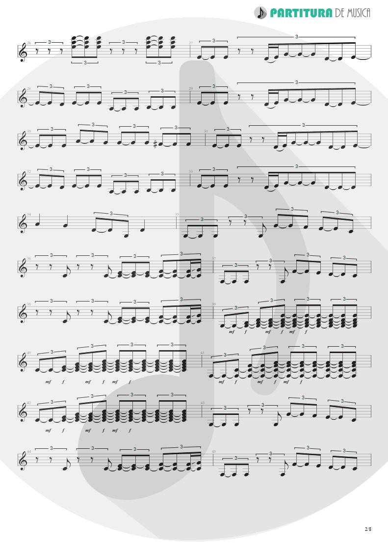 Partitura de musica de Guitarra Elétrica - Quinta-Feira   Charlie Brown Jr.   Transpiração Contínua Prolongada 1997 - pag 2