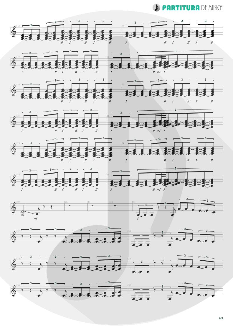 Partitura de musica de Guitarra Elétrica - Quinta-Feira   Charlie Brown Jr.   Transpiração Contínua Prolongada 1997 - pag 6