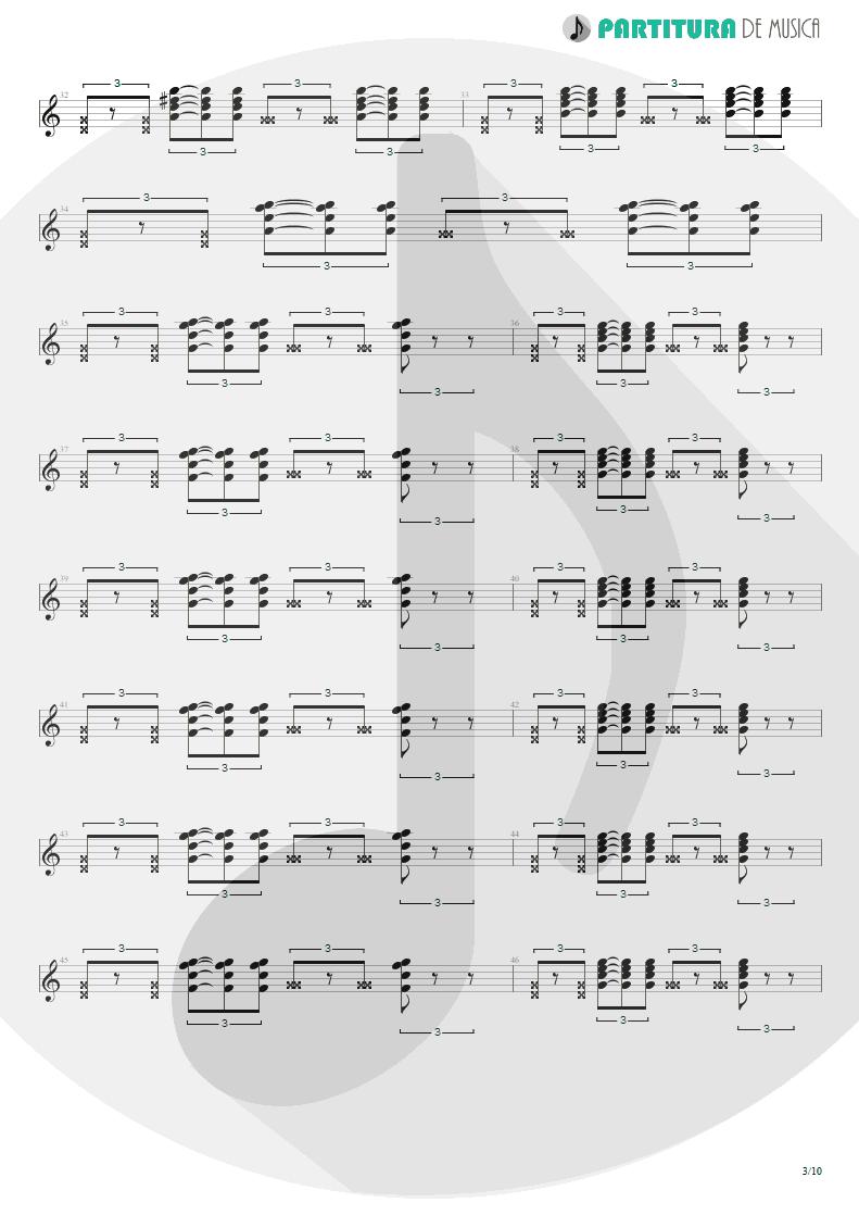 Partitura de musica de Guitarra Elétrica - Quinta-Feira   Charlie Brown Jr.   Transpiração Contínua Prolongada 1997 - pag 3