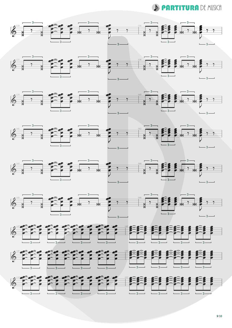 Partitura de musica de Guitarra Elétrica - Quinta-Feira   Charlie Brown Jr.   Transpiração Contínua Prolongada 1997 - pag 9