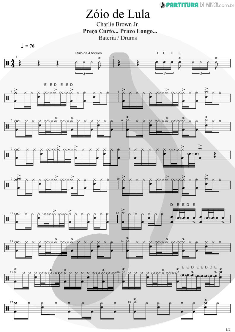 Partitura de musica de Bateria - Zóio de Lula | Charlie Brown Jr. | Preço Curto... Prazo Longo 1999 - pag 1