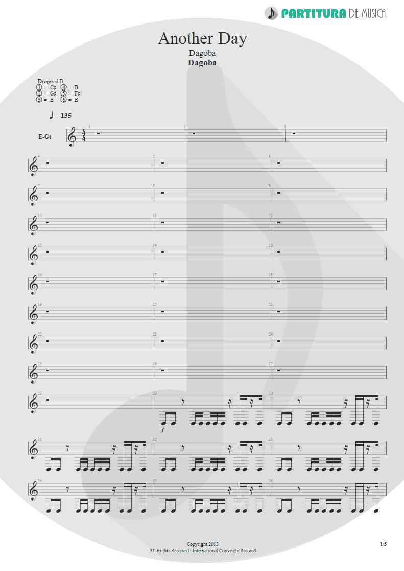Partitura de musica de Guitarra Elétrica - Another Day | Dagoba | Dagoba 2003 - pag 1