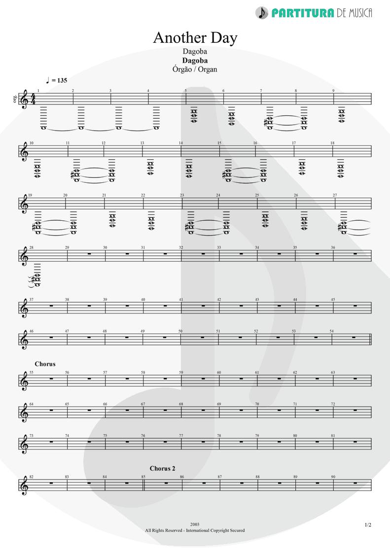Partitura de musica de Órgão - Another Day   Dagoba   Dagoba 2003 - pag 1