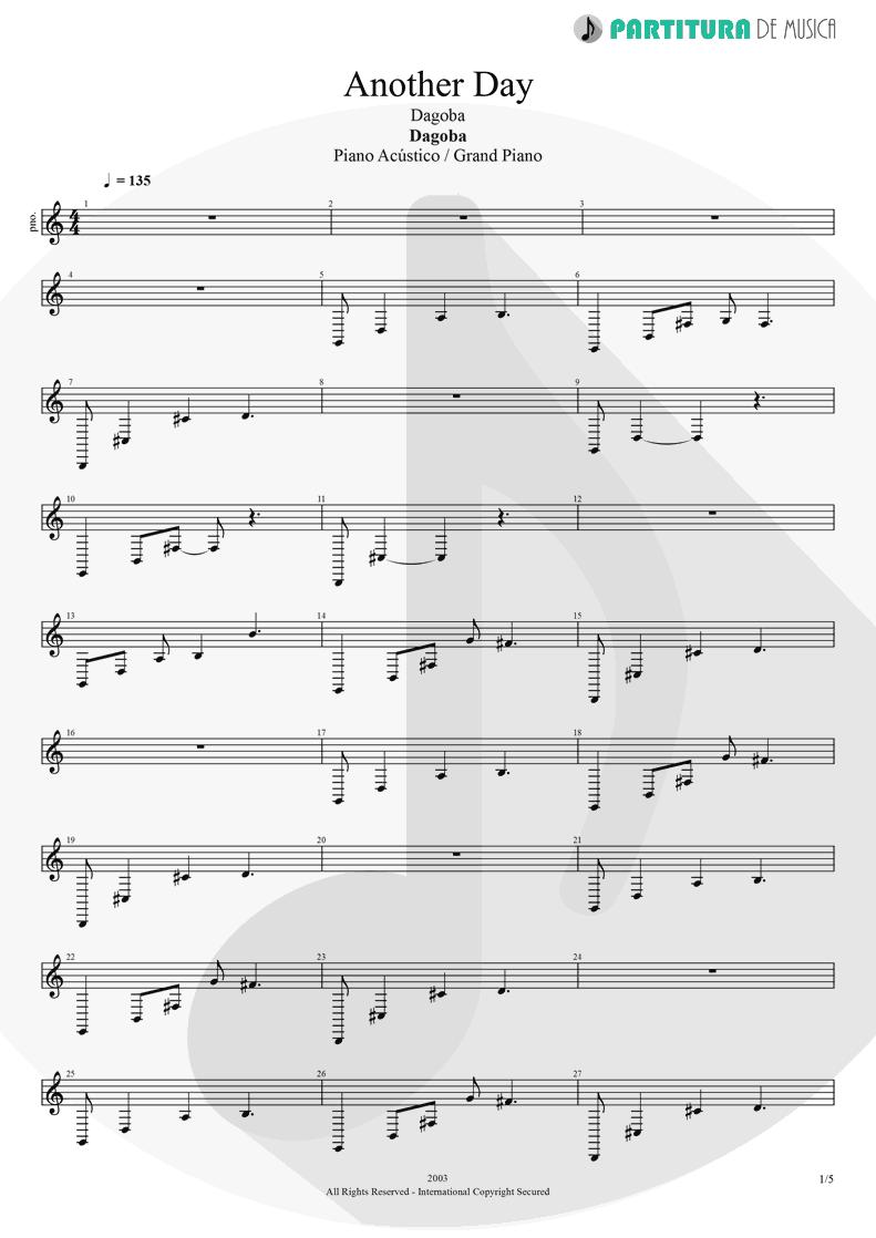 Partitura de musica de Piano - Another Day   Dagoba   Dagoba 2003 - pag 1