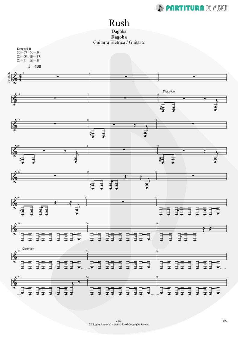 Partitura de musica de Guitarra Elétrica - Rush | Dagoba | Dagoba 2003 - pag 1