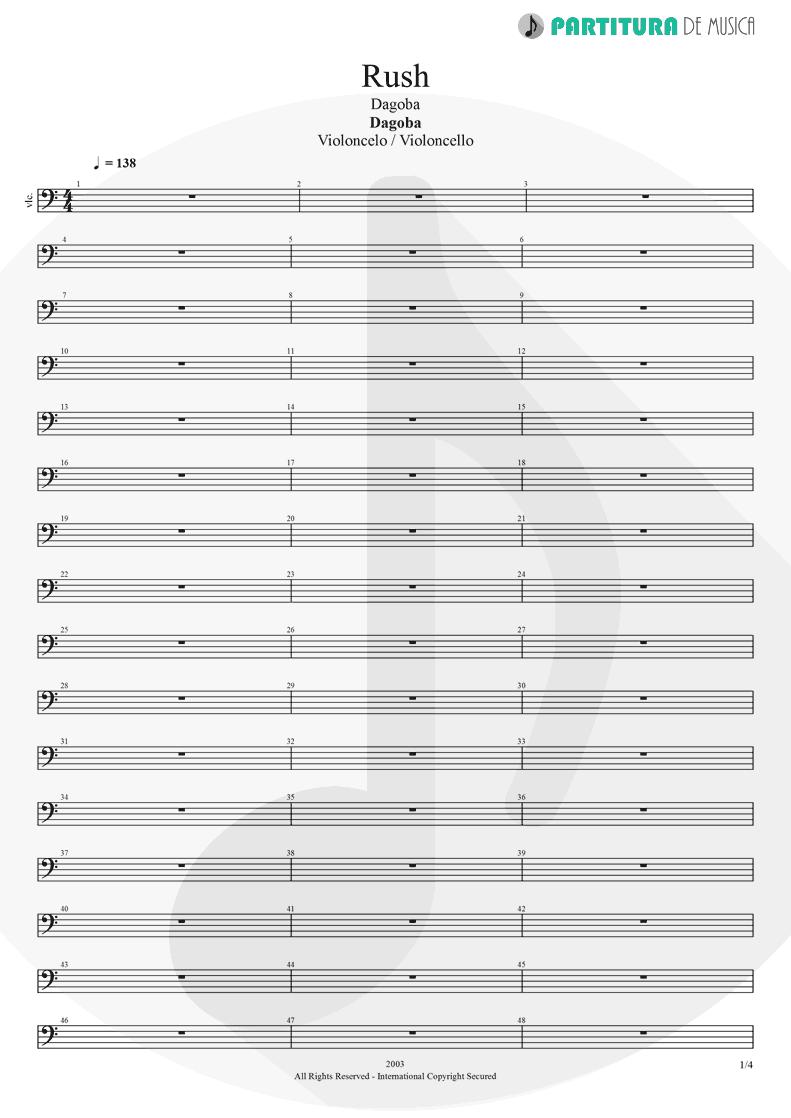 Partitura de musica de Violoncelo - Rush   Dagoba   Dagoba 2003 - pag 1