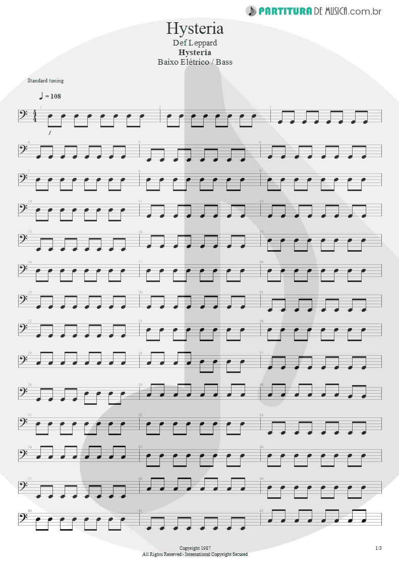Partitura de musica de Baixo Elétrico - Hysteria   Def Leppard   Hysteria 1987 - pag 1