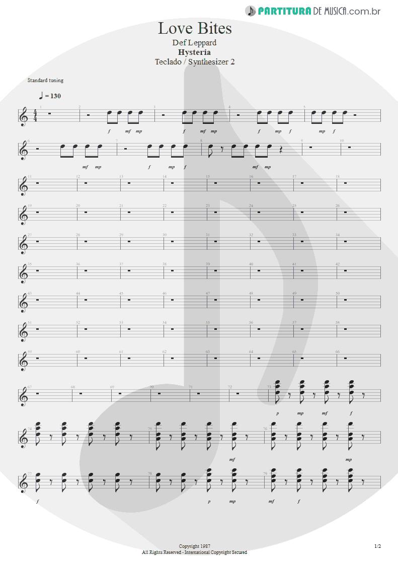 Partitura de musica de Teclado - Love Bites   Def Leppard   Hysteria 1987 - pag 1