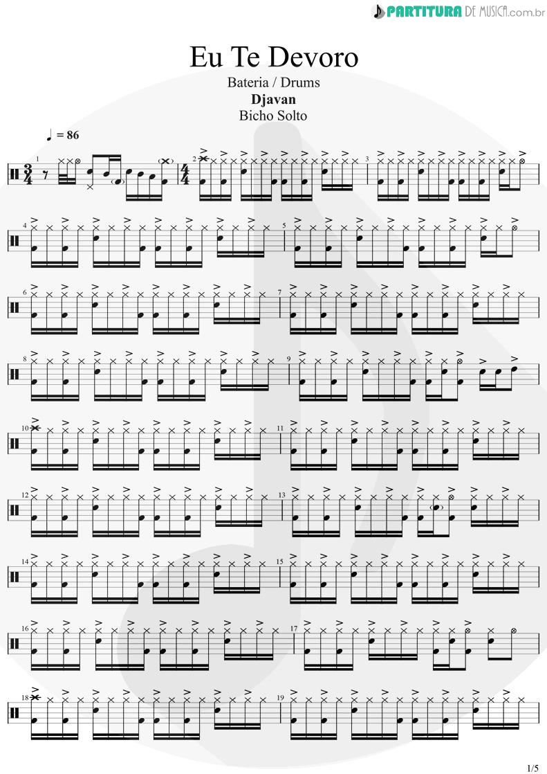 Partitura de musica de Bateria - Eu Te Devoro | Djavan | Bicho Solto 1998 - pag 1