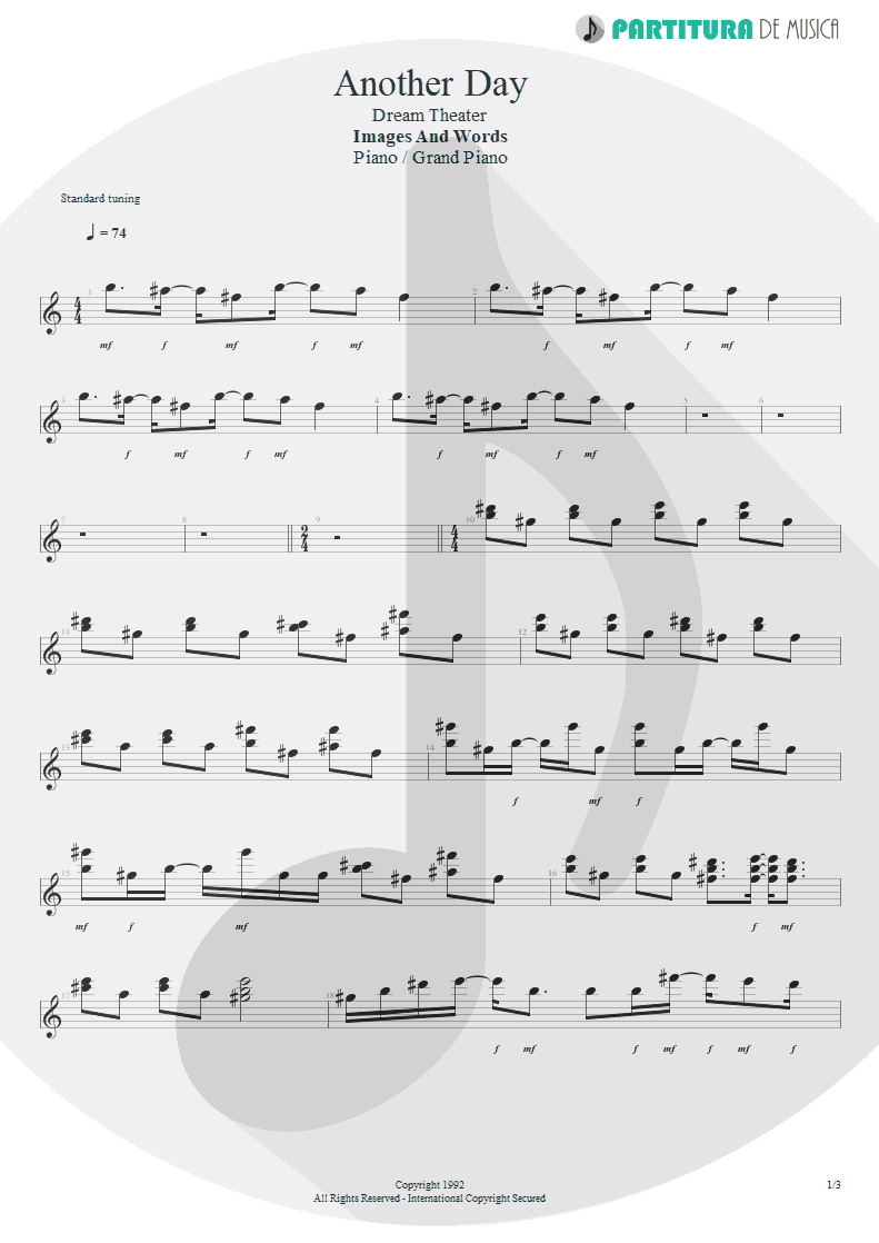 Partitura de musica de Piano - Another Day | Dream Theater | Images and Words 1992 - pag 1